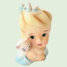Enesco Young Ponytail Girl with White Kitten Head Vase