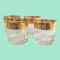 Culver Glass Tyrol 22-Karat Gold Mid Century On-The-Rocks Tumblers Set of Four