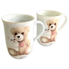 Otagiri Coffee Mugs White Persian Kitten and Teddy Bear Designed by Bob Harrison Set of Two