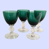 Tiffin Killarney Green Stem #17394 Blown Glass Wine Clarets Set of Four