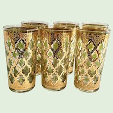 Mid-Century Culver Glass Valencia 22K-Gold Highball Tumblers Set of Six