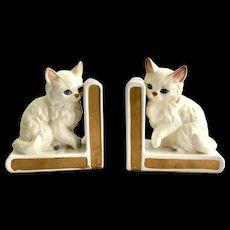 Pair Vintage Lefton White Persian Cat Bookends