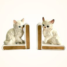 Pair Vintage Lefton White Persian Cat Bookends