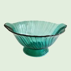 Jeannette Swirl Ultra Marine Blue Handled Depression Glass Footed Bowl