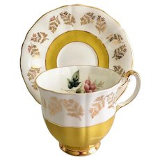 Royal Adderley #41632 Gold Ferns and Golden Yellow Bone China Teacup and Saucer
