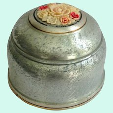 Aluminum Powder Puff Music Box with Applied Flowers on Top