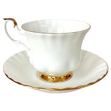 Royal Albert Val D'or Bone China Teacup and Saucer White with Gold trim