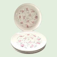 Tickled Pink 10-Inch Dinner Plates Vernon California Pottery Set of Five