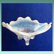 Northwood Glass Klondyke Three-Toed White Opalescent Bowl