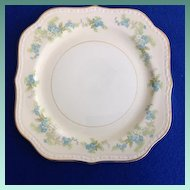 Homer Laughlin Eggshell Georgian Square Salad Plate with Blue Flowers