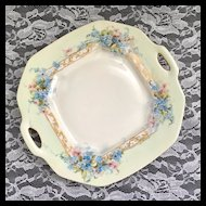 D&Co Limoges France Handpainted Blue Flowers Two-Handled Plate