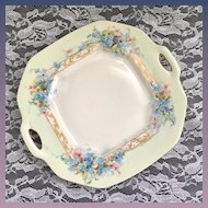 Delinieres & Co Limoges France Two-Handled Handpainted Blue Flowers plate