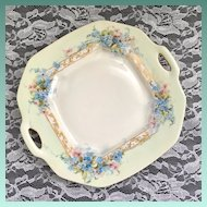 Stunning Delinieres & Co Limoges France Two-Handled Handpainted Blue Flowers plate
