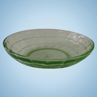 Hocking Block Optic Green Depression Glass Cereal Bowl
