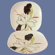Red Wing Lotus Concord Shape Dinner Plates - Set of Two