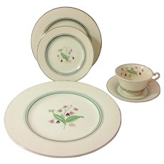 Syracuse China Coralbel 5-Piece Place Setting Platinum Trim Dinner Ware