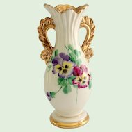 Le Pere Pottery Hand Painted Pansies Gold Trim Vase