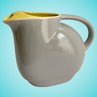 Hall China General Electric 1930s Refrigerator Ware Gray and Yellow Water Server