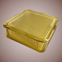 Federal Glass Golden Glow Yellow Vertical Ribbed Covered Square Refrigerator Dish