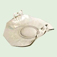 Fostoria Fairfax Elegant Glass Mother of Pearl Iridescent Bow Handle Bon Bon