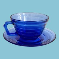 Hazel Atlas Moderntone Cobalt Blue Depression Glass Cup and Saucer