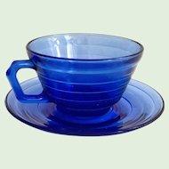 Hazel Atlas Moderntone Cobalt Blue Depression Glass Cup and Saucer