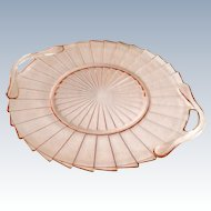 Jeannette Sierra Pinwheel Pink Depression Glass Two-Handled Serving Tray
