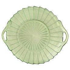 Jeannette Sierra Pinwheel Green Depression Glass Two-Handled Serving Tray