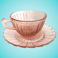 Jeannette Sierra Pinwheel Pink Depression Glass Cup and Saucer
