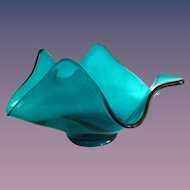Viking Glass Epic Bluenique Teal Flame Point Bowl 1960s