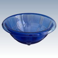 Hazel Atlas Cobalt Blue CrissCross Depression Glass Mixing Bowl
