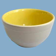 Hall China Gray and Yellow General Electric 1930s Refrigerator Ware Leftovers Bowl
