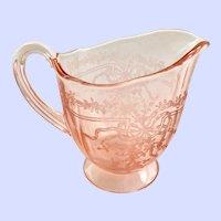 Fostoria June Etch Rose Pink Elegant Glass Depression Era Footed Creamer