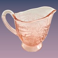 Fostoria June Etch Rose Pink Elegant Glass Depression Era Footed Creamer