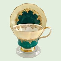 Royal Albert Bone China Pompadour Series Turquoise Chelsea Shape Teacup and Saucer