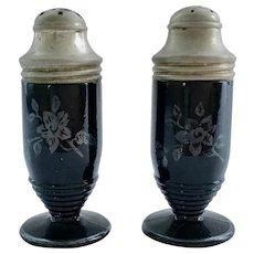 Hazel Atlas Floral Sterling Black Glass Salt and Pepper Shakers