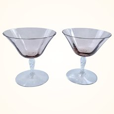 Set of Two Fostoria Orchid Twisted Stem 5097 Elegant Glass Champagnes or Tall Sherbets