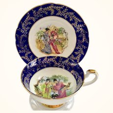 Wm Hulme Imperial Bone China England Cobalt Blue and Gold Portrait Teacup and Saucer