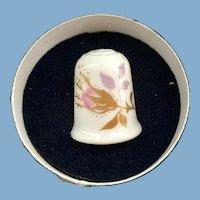 Coalport Bone China Chintz Rose Thimble in Original Box