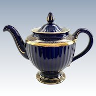 Hall Los Angeles Gold Decorated Cobalt 6-Cup 083 Teapot