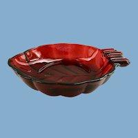 Royal Ruby Leaf Shaped Ashtray Anchor Hocking Glass