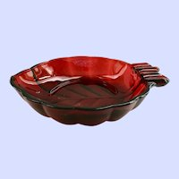 Royal Ruby Leaf Shaped Ashtray Anchor Hocking Glass