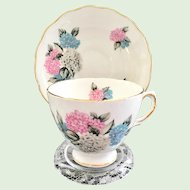 Royal Vale Pink and Blue Floral Bone China Teacup and Saucer