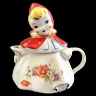 Hull Pottery Little Red Riding Hood Teapot Bouquet on Skirt