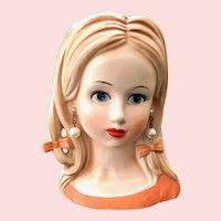 Relpo Teen Age Girl Head Vase Orange Dress Pearl Earrings HairBows