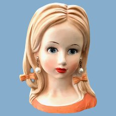 Relpo Teen Age Girl Head Vase Orange Dress Pearl Earrings HairBows