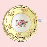 Yellow with Gold Rose Overlay Yellow Bone China Teacup and Saucer Royal Grafton 8726