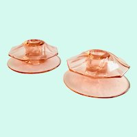Heisey Twist Flamingo Pink No. 1252 Pair Elegant Glass Candlesticks
