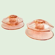 Heisey Twist Flamingo Pink No. 1252 Pair Elegant Glass Candlesticks