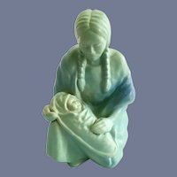Van Briggle Art Pottery Kneeling Native American Woman Holding Baby on Cradleboard Figurine in Turquoise Ming Blue Glaze